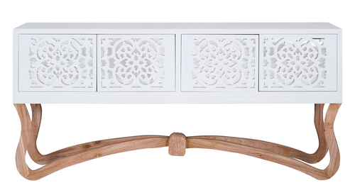 Sienna Ornamental 4 Door Cabinet/Console - White