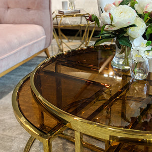 Gold Perugia Coffee Table 5 piece set– Tinted Glass-Find It Style It Home