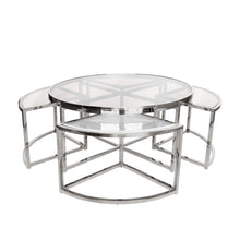 Silver Perugia Coffee Table 5 piece set– Clear Glass