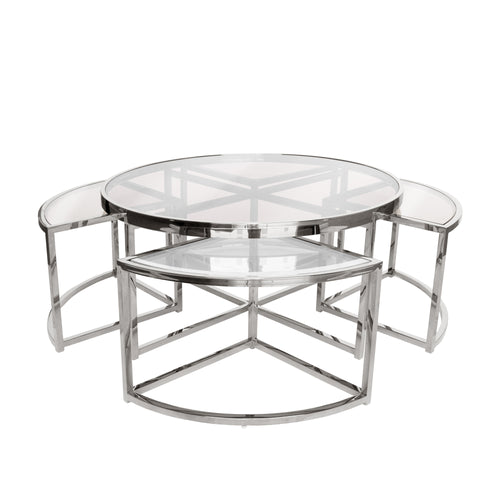 Silver Perugia Coffee Table 5 piece set– Clear Glass-Find It Style It Home