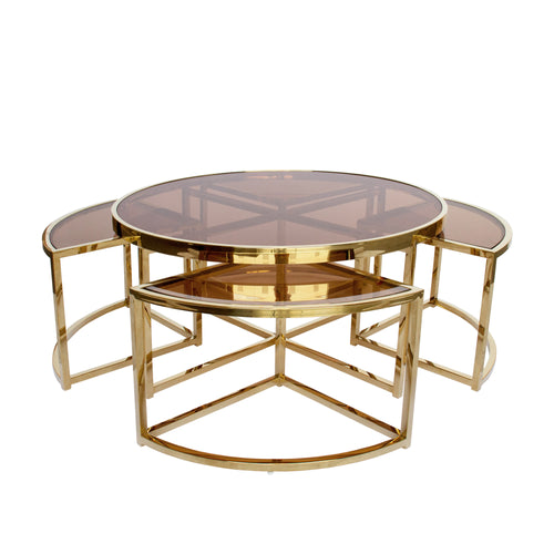 Gold Perugia Coffee Table 5 piece set– Tinted Glass