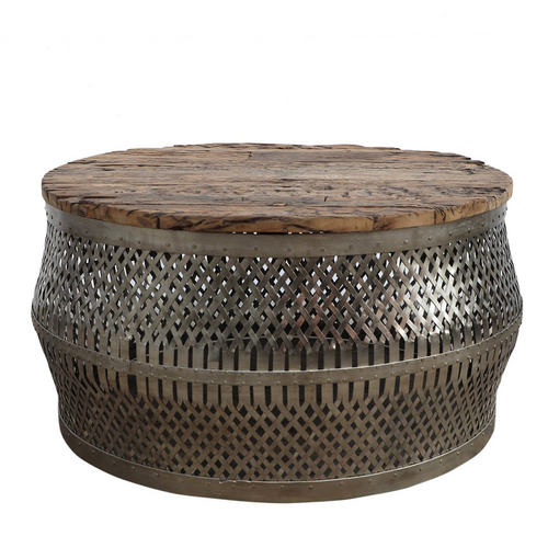 Woven Metal & Timber Coffee Table