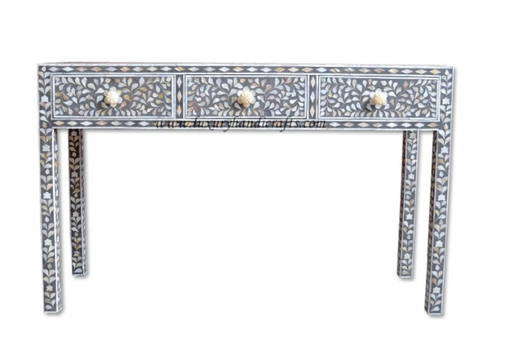 Mother of Pearl Inlay Console in Grey