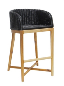 Oolong Rattan & Mahogany Timber Bar Stool - Black