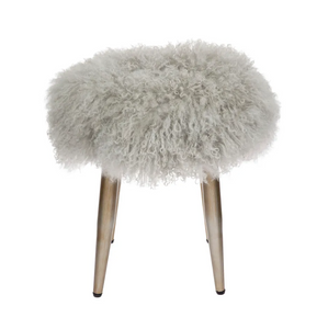 Juliette Mongolian Fur Plush Stool - Grey