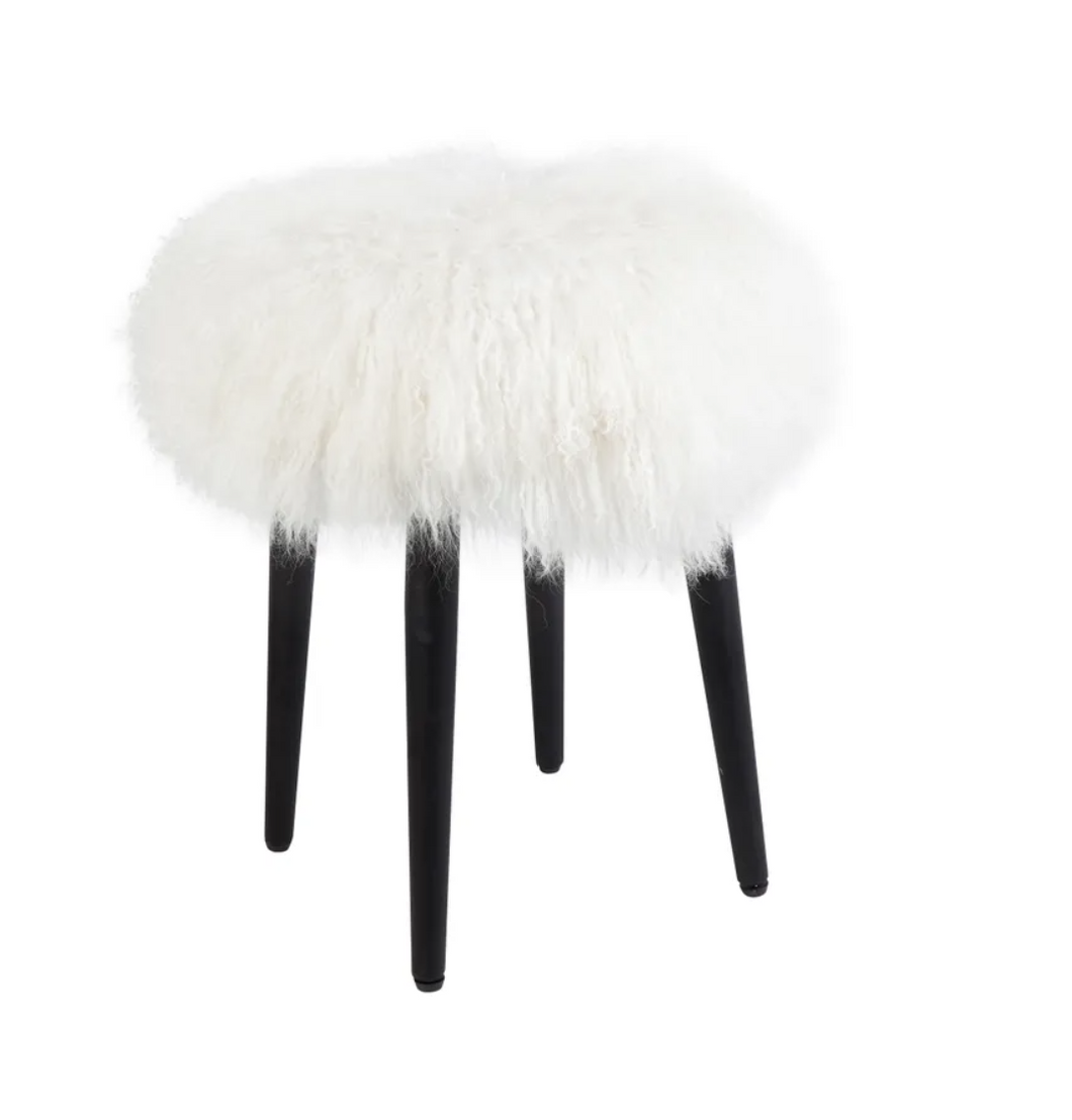 Juliette Mongolian Fur Plush Stool - White