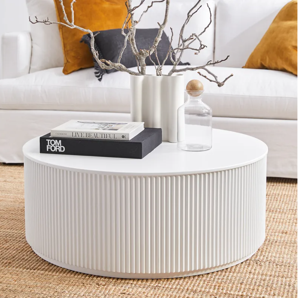 Chandra Round Coffee Table - White-Find It Style It Home
