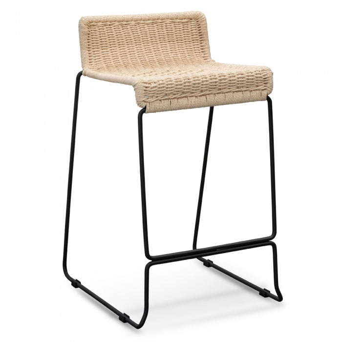 Natural Rattan Bar Stool - Black frame