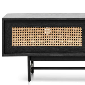 Oak & Rattan Entertainment TV Unit - Black and Natural