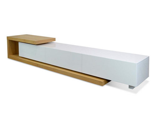Scandinavian 2.4m-3.07m TV Entertainment Unit - Natural - White