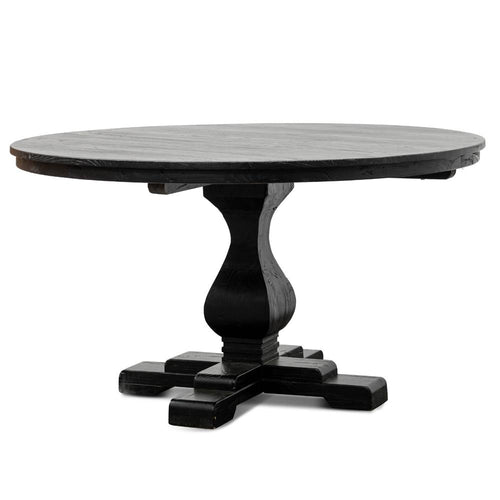 Reclaimed Round Dining Table 1.4m - Rustic Black