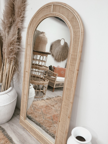 The Seville Arch Rattan Mirror