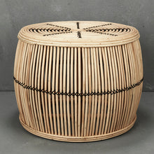 Rattan Armchair in Natural with Black Trim