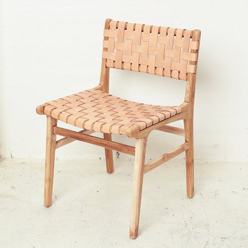 Luka Leather & Teak Dining Chair