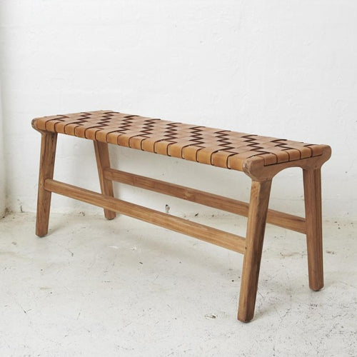 Kemi Tan Leather Bench-Find It Style It Home
