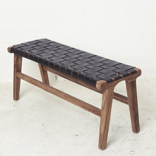 Kemi Black Leather Bench-Find It Style It Home