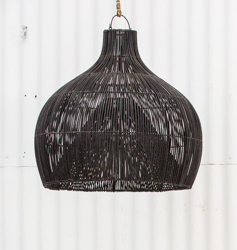 Dari Rattan Oversized Light Shade Black