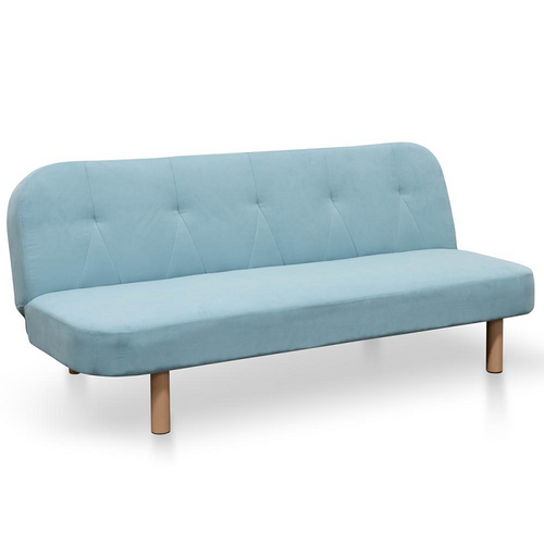 3 Seater Fabric Sofa Bed - Pacific Blue