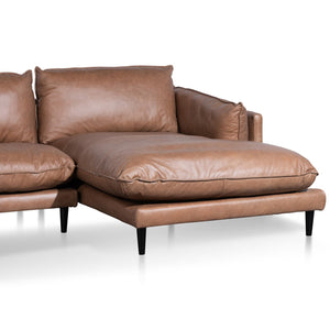 4 Seater Right Chaise Leather Sofa - Saddle Brown