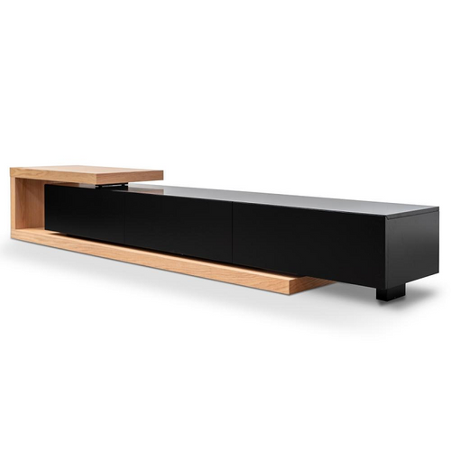 Entertainment TV Unit - Natural Oak - Black