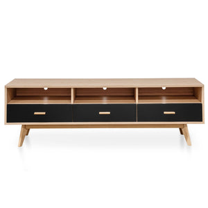 Entertainment TV Unit In Natural - Black
