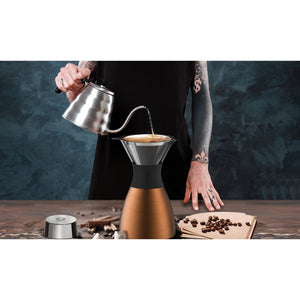 32-Ounce PourOver Insulated Coffee Maker (Copper/Black) - Rosemary & Wines