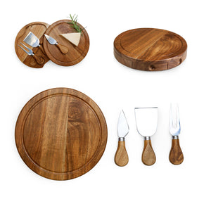 BRIE ACACIA CHEESE BOARD SET - Rosemary & Wines