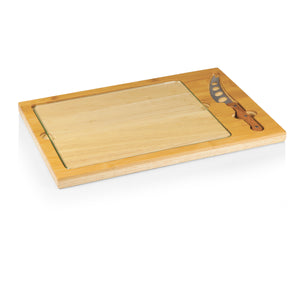 RECTANGULAR GLASS TOP CUTTING BOARD W/ KNIFE - Rosemary & Wines