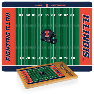 ICON- NCAA FOOTBALL THEME UNIVERSITY GLASS TOP CUTTING BOARD W/ KNIFE Rosemary & Wines