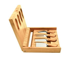 Bamboo Cheese Board & Tool Set - Rosemary & Wines