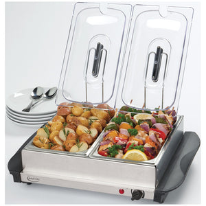 Stainless Steel Buffet Server with Warming Tray By BETTY CROCKER® - Rosemary & Wines