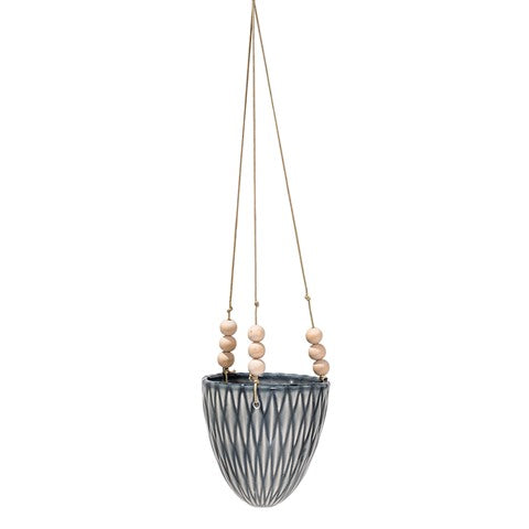 Grey Stoneware Hanging Flower Pot