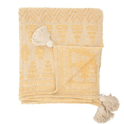 Recycled Cotton Blend Woven Throw w/ Tassels
