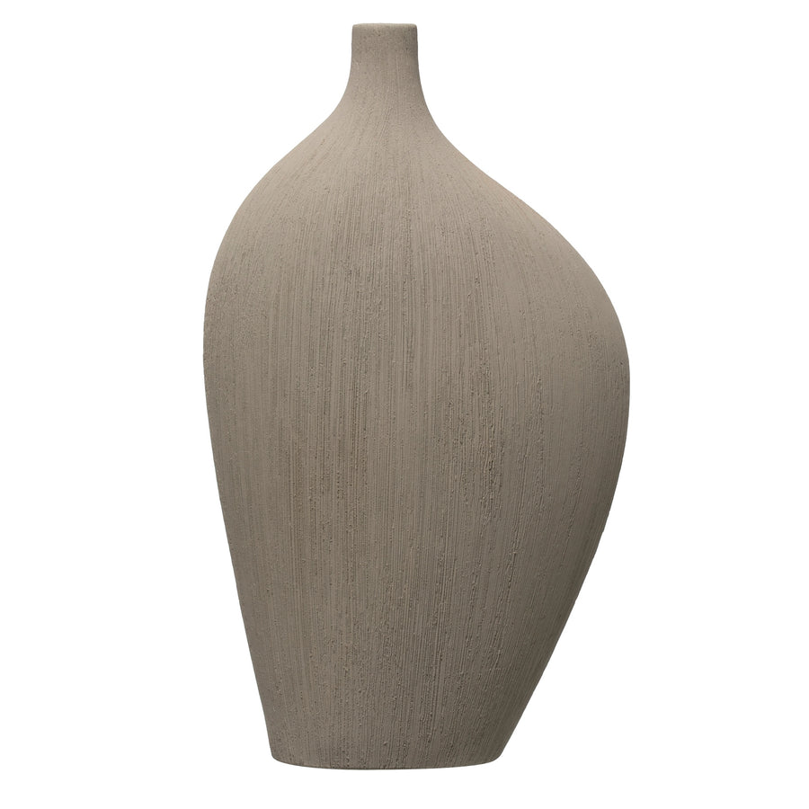 Flat Abstract Stoneware Vase