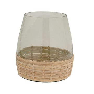 Woven Bamboo & Glass Vase