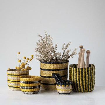 Handwoven Seagrass Striped Baskets (Set of 5)
