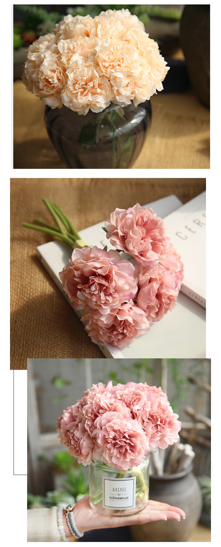 Silk Peony Flowers - Bundle of 3