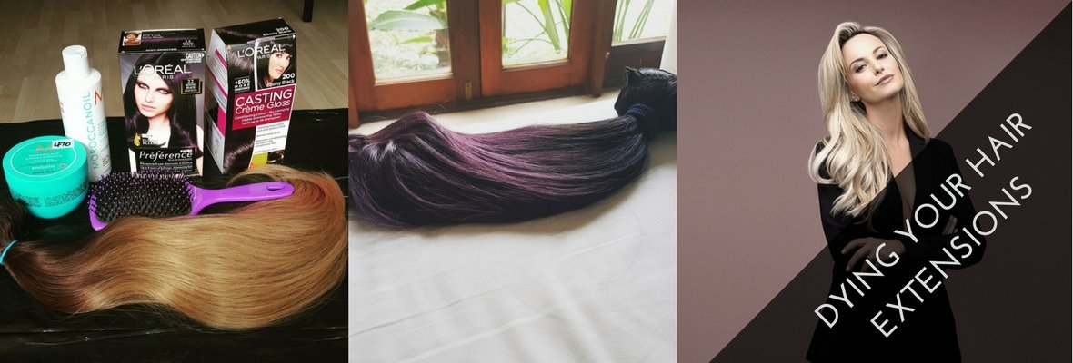 HOW I DYED MY BLONDE EXTENSIONS PLUM PURPLE AND BLACK