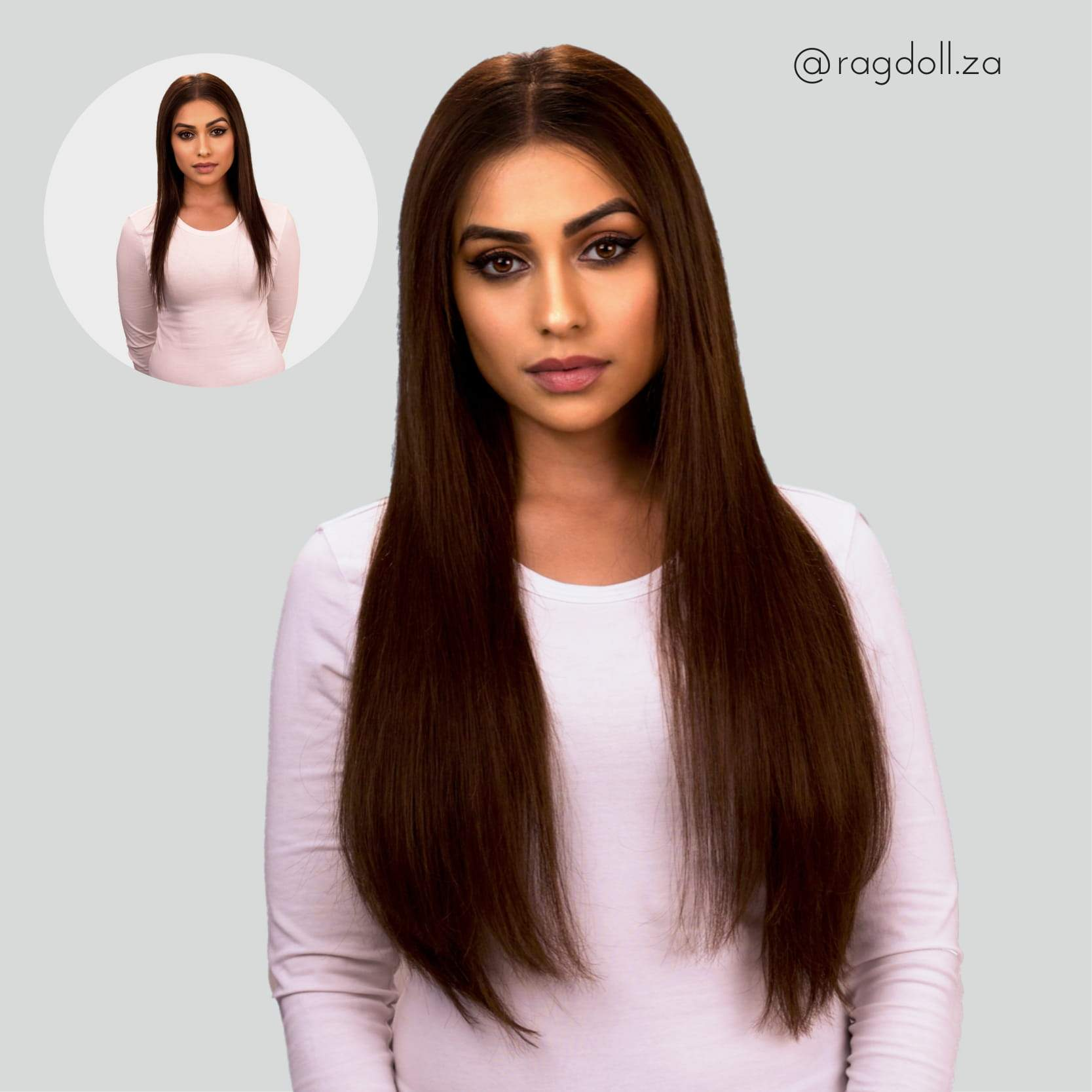 Chocolate Brown 20inch Clip In Hair Extensions Frontrow