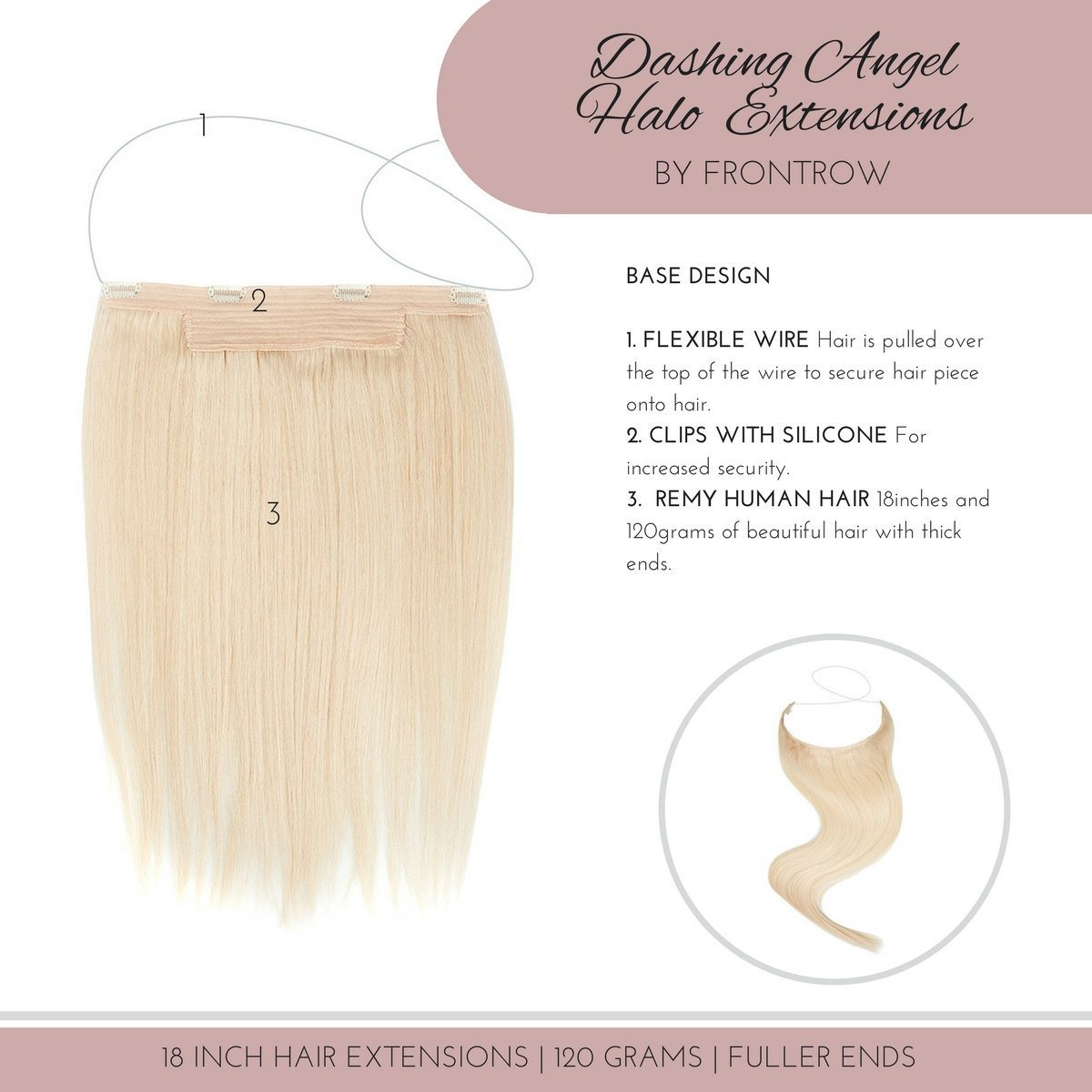 Ready to Mingle 18inch Highlighted Blonde Halo Hair Extensions - FrontRow