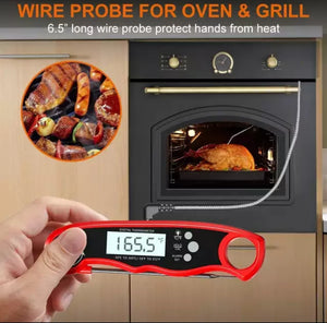 Digital meat thermometer with dual probe and long wire.