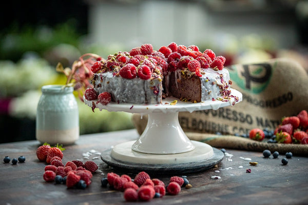#breastcancerawareness Kathy Tsaples and William Dachris from Grecian Purveyor have teamed up to support Breast Cancer Awareness Month in Australia. Recipe for Raspberry Cake with Pink Rose Petals
