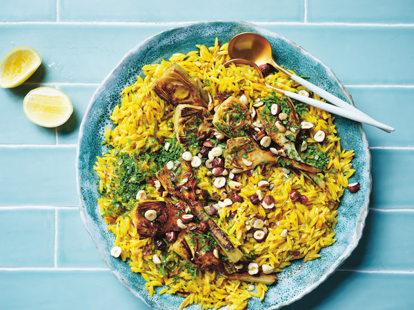 Saffron orzo with charred artichokes recipe by Alice Zaslavsky