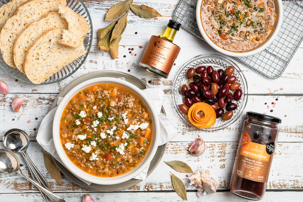 Rustic Style Greek Lentils (Fakes) by Margaret from Create Cook Share - GRECIAN PURVEYOR truffle oil
