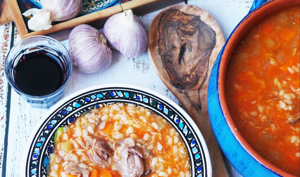Mulberry Pomegranate and Grecian Purveyor share Manestra soup recipe from Greece. A similar recipe to Italian minister using high quality Greek olive oil.