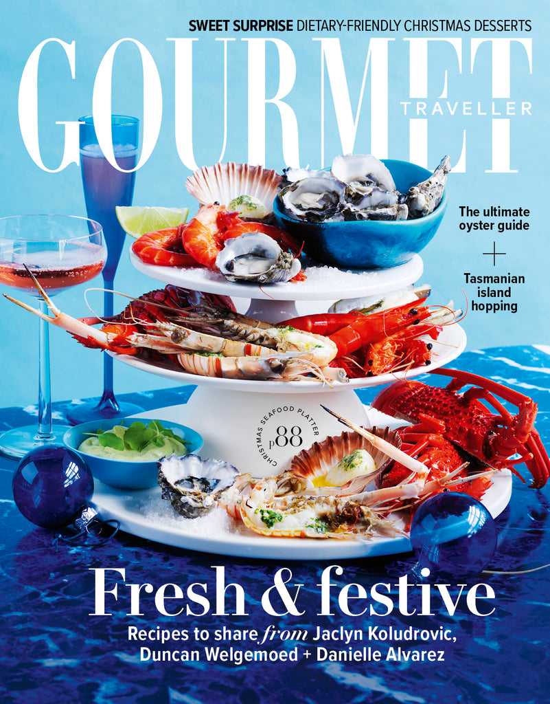 Gourmet Traveller Christmas 2020 features Grecian Purveyor in the food lovers gift guide.