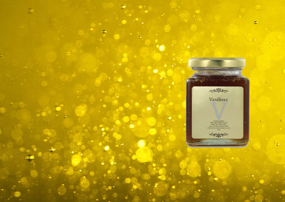 Raw organic Greek honey with edible Gold flakes 24K. Mother's Day gourmet gift by GRECIAN PURVEYOR