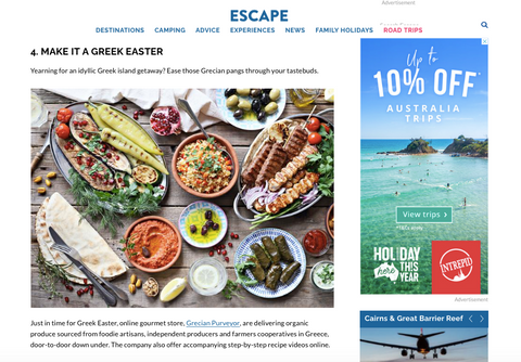 The Sunday Telegraph and www.Escape.com magazine feature Grecian Purveyor as the armchair travel in Australia and Greek Easter Feast