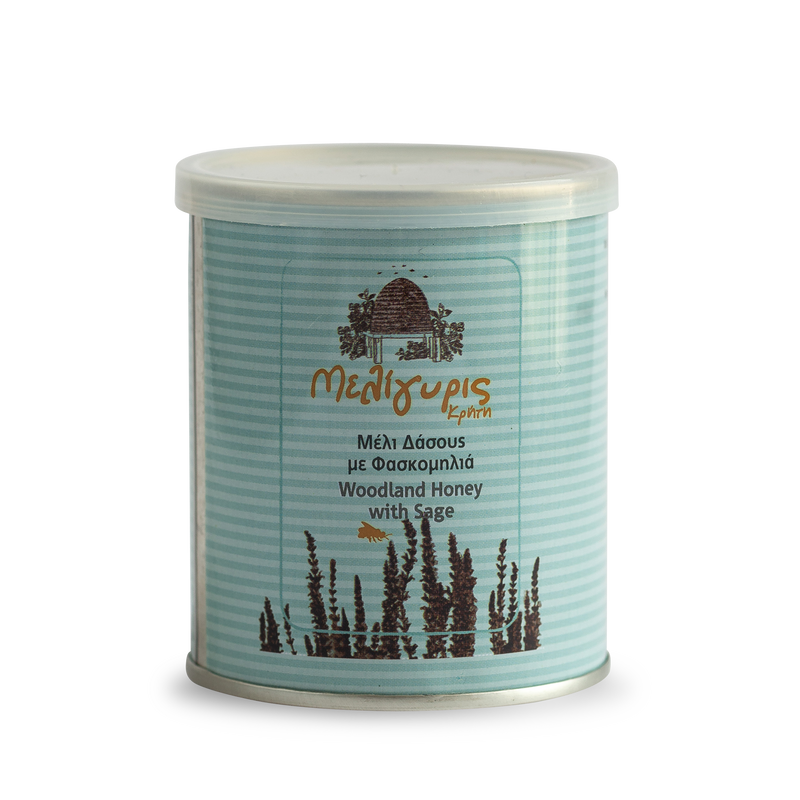 Meligyris Cretan Woodland Raw Sage Honey - Light in colour, heavy bodied, with a mild & delightful flavour & elegant floral aftertaste.Pure, unfiltered, cold-pressed raw honey full of nutritional benefits