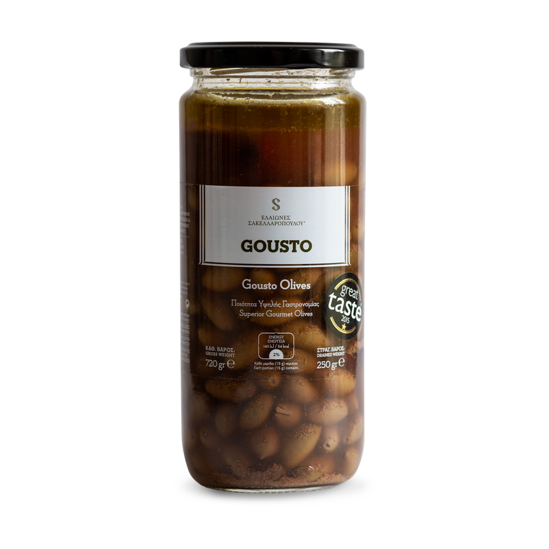 GOUSTO - Gourmet Certified Organic Kalamata Olives With Coriander & Tea